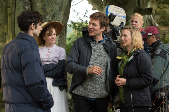 Carey Mulligan and Thomas Vinterberg on the set of FAR FROM THE MADDING CROWD. Photos by Alex Bailey. © 2014 Twentieth Century Fox Film Corporation All Rights Reserved