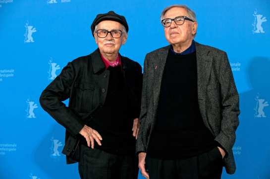 "Director Paolo Taviani and director Vittorio Taviani (r) are posing at a photocall for the movie ""Ceasar must die"" (Cesare deve morire) during the 62nd Berlin International Film Festival, in Berlin, Germany, 11 February 2012. The movie is presented in competition at the 62nd Berlinale running from 09 to 19 February. Photo: Tim Brakemeier dpa/lbn  +++(c) dpa - Bildfunk+++  -ALLIANCE-INFOPHOTO"