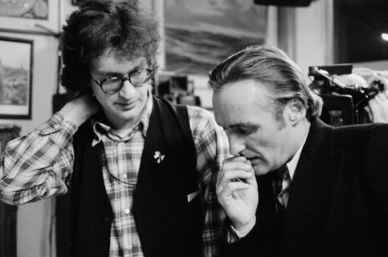 February 1977, Hamburg, Germany --- American actor Dennis Hopper with German director Wim Wenders on the set of his movie The American Friend, based on Patricia Highsmith's novel Ripley's Game. --- Image by © Caterine Milinaire/Sygma/Corbis