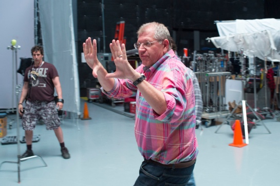 Director Robert Zemeckis on the set of TriStar Pictures' THE WALK.