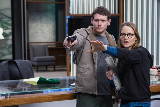 Jack O'Connell and Director Jodie Foster on the set of TriStar Pictures' MONEY MONSTER.